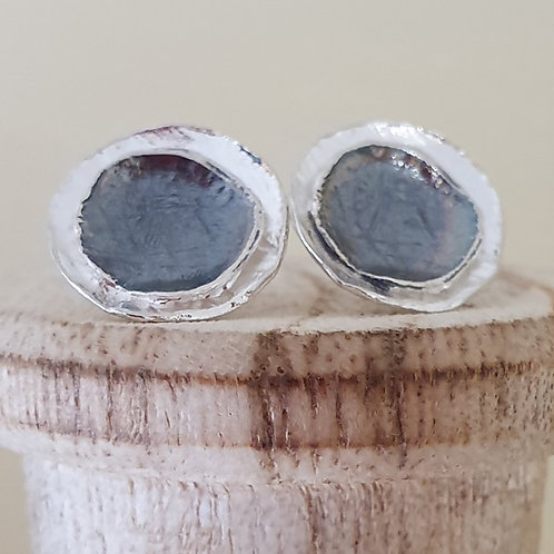 Sterling silver two tone large round stud earrings