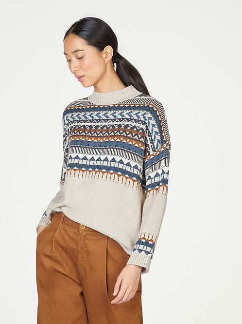 THOUGHT DELILAH FAIRISLE ORGANIC COTTON AND WOOL ROLL NECK JUMPER(WWT5857)