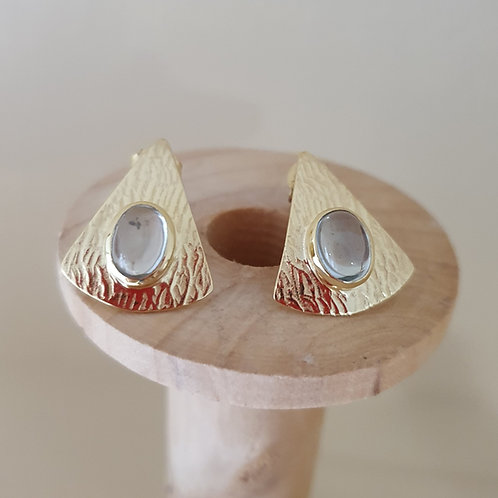 Triangle design  gold plated Sterling Silver with Blue Topaz stud earrings