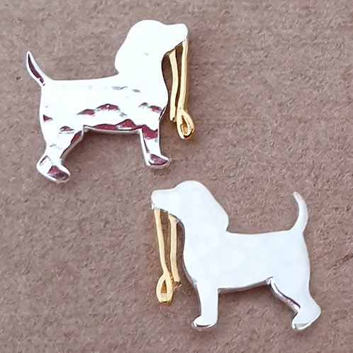 Dog with lead Earrings Sterling silver / Gold plate