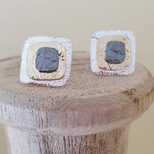 Sterling silver layered square stud earrings with trio finish