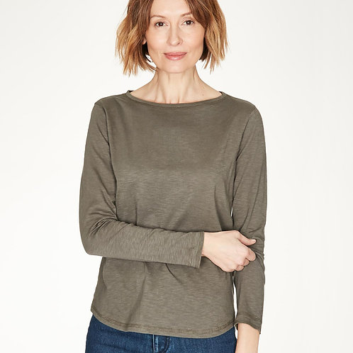 THOUGHT FAIR TRADE LONG SLEEVE TOP IN WALNUT GREY. (WST4782)
