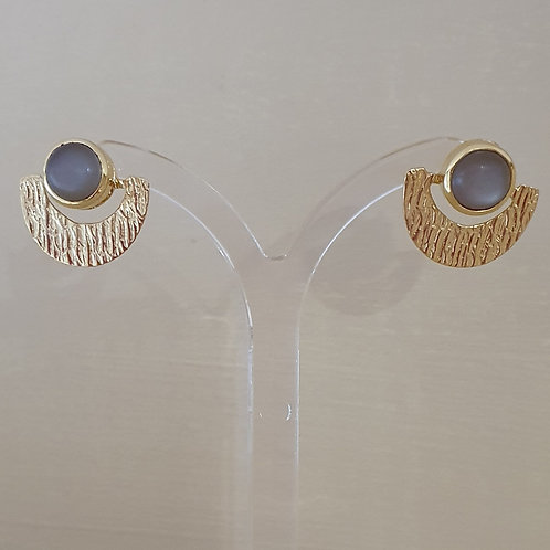 Moonstone gold plated Sterling Silver textured stud earrings