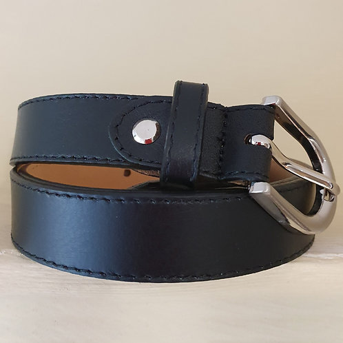 Real leather belt in Black
