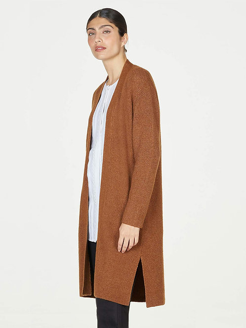 THOUGHT ANGIE ORGANIC COTTON BLEND FLUFFY RIBBED LONGLINE CARDIGAN (WWJ5850)
