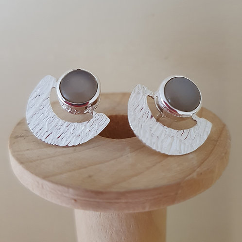 Moonstone Sterling Silver textured stud earring