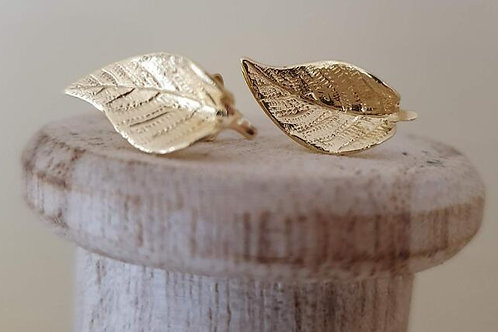 LARGE STERLING SILVER GOLD PLATED LEAF EARRINGS