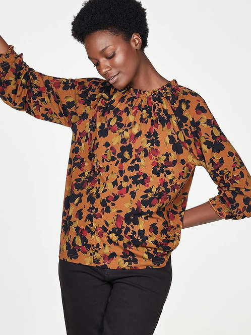 THOUGHT FITZROY BAMBOO ORGANIC COTTON FRILL NECK TOP(WWT5884)