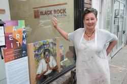 Black-Rock-Studio-ceramicist-and-owner-Catherine-Carroll-standing-w-Camille-Laurens-Starstuck-1-Fran