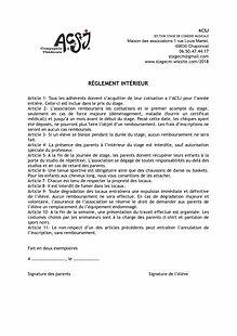 REGLEMENT INTERIEUR- STAGE DE COMEDIE MU