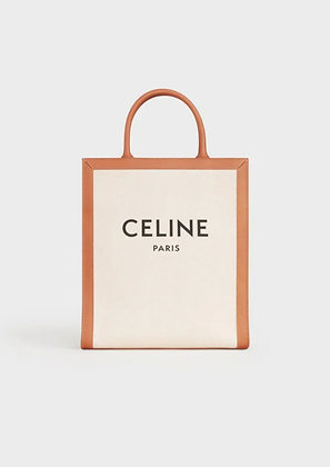 CELINE VERTICAL CABAS IN CANVAS WITH CELINE PRINT AND CALFSKIN