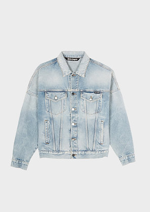 PALM ANGELS OVER LOGO DENIM JACKET