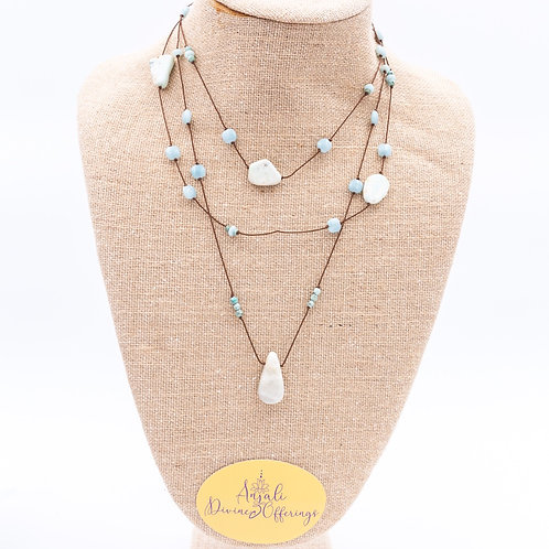 Silk and stone long wrap necklace