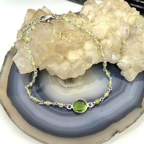 Wire Wrapped Peridot Bracelet