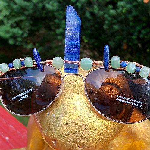 Lapis lazuli and aventurine aviators