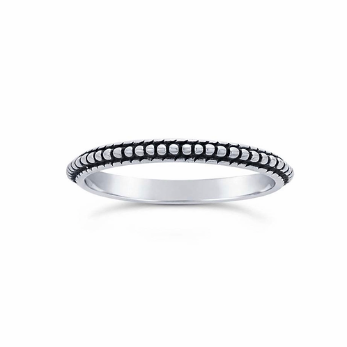 Sterling Beaded Band (Stackable Accent Ring)