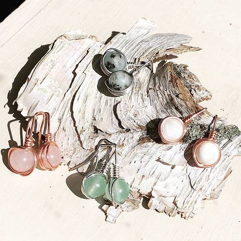 Wire wrapped drop earrings