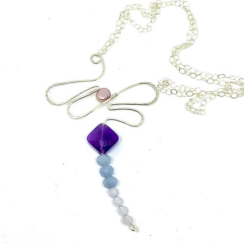 CUSTOM Sterling and gemstone dragonfly