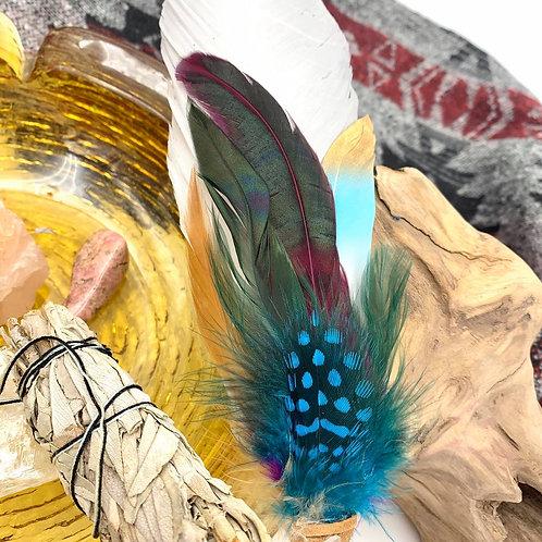 Selenite and Aquamarine Smudging Feather
