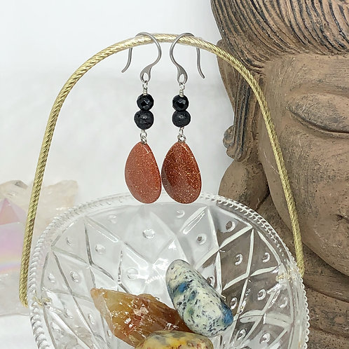 Goldstone and Black Onyx Drop Earrings