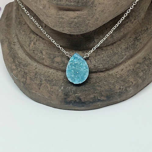 Blue druzy drop necklace