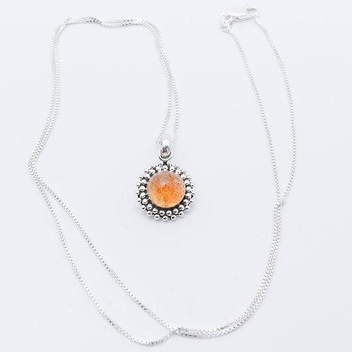 Sterling Silver Sunstone Breast Milk Keepsake Necklace