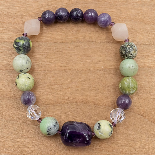 Amethyst & Yellow Turquoise Stretch Bracelet