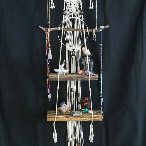 Large custom macramé alter and jewelry display