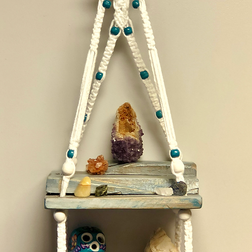 Grey and teal distressed tiered double macrame shelf