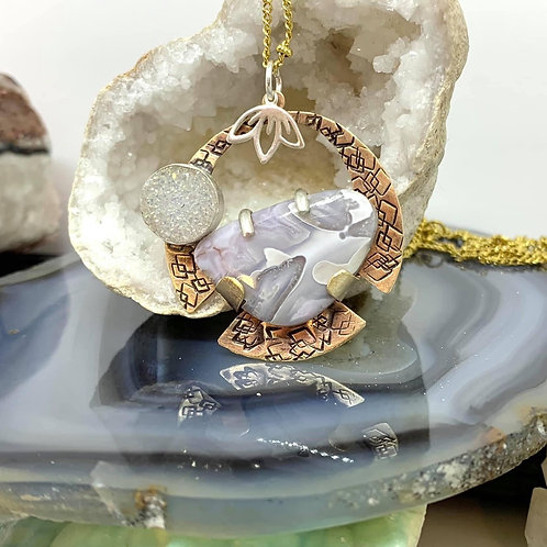 Crazy Lace Agate and Druzy Pendant