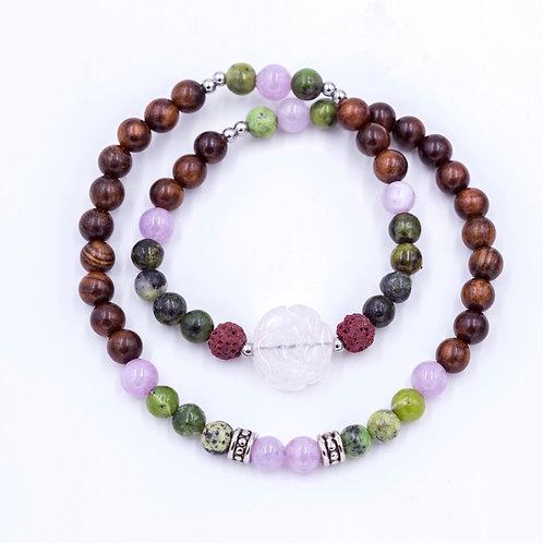 Hand carved rose 1/2 mala diffuser bracelet