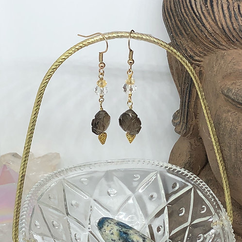 Carved Smokey Quartz Drop Earrings