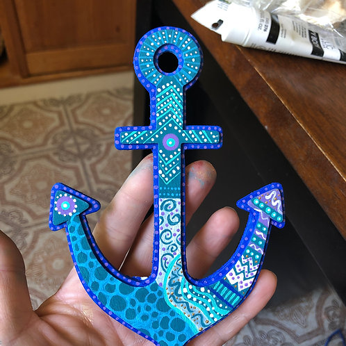 Custom Seaglass and doodle anchor wall hanging