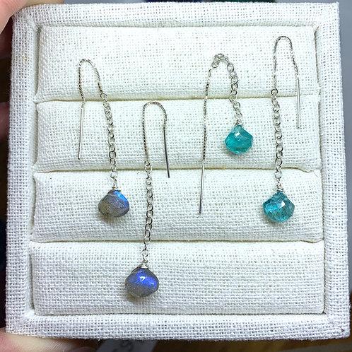 Labradorite or blue apatite sterling threaders