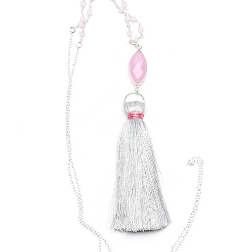 Rose Quartz and Pink Chalcedony Tassel