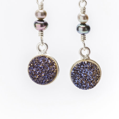 Druzy and pearl earrings