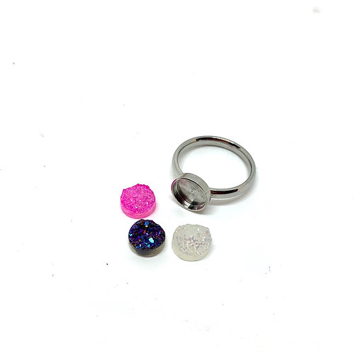 8mm stainless druzy ring