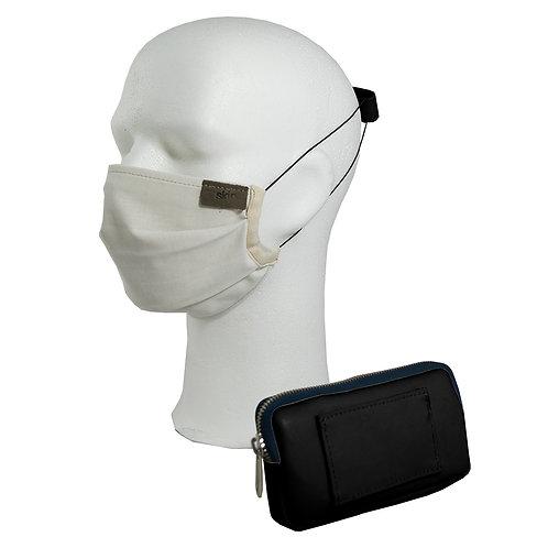 Mundschutz Set #3 Kaktusleder (schwarz); inkl. Maske, Gürteltasche, Ohrenschoner