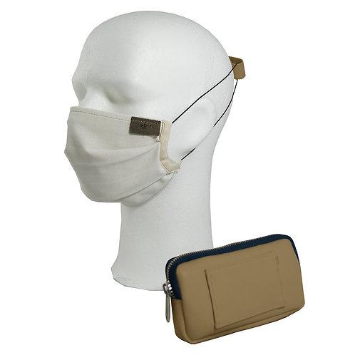 Mundschutz Set #7 Kaktusleder (beige); inkl. Maske, Gürteltasche, Ohrenschoner