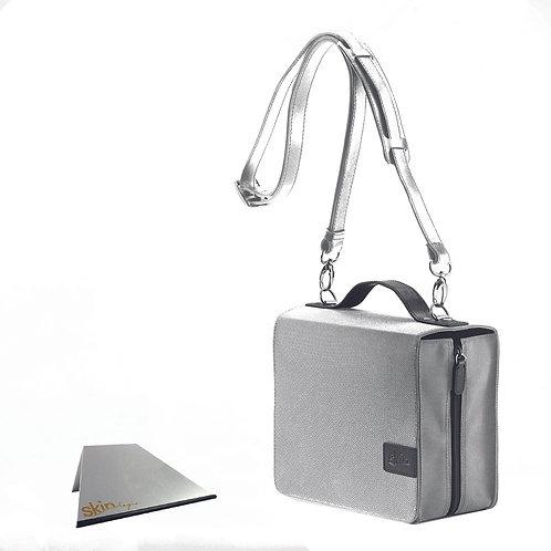 SchönfelderSkin Basic (Nylon/Leder), silber, mit Aluminium-Buchstütze