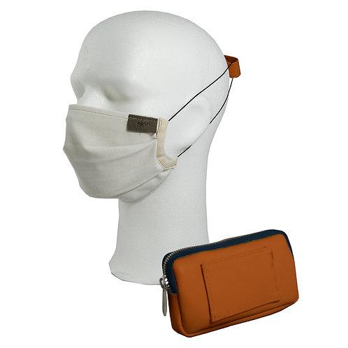 Mundschutz Set #4 Leder (cognac); inkl. Maske, Gürteltasche, Ohrenschoner