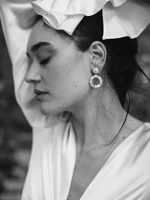 AMELIE GEORGE- WILLOW - DIAMOND STATEMENT HOOP WEDDING EARRINGS