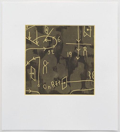 Notation Score Etching (Yellow Test Print) by Elena Yu