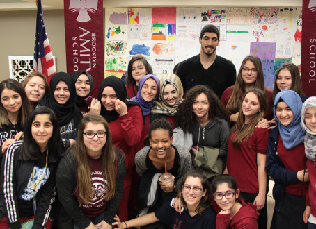 Turkish NBA Player Enes Kanter at Brooklyn Amity School