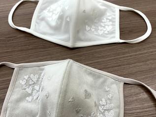 pupura  ♡ハート刺繡マスク サラッとした素材