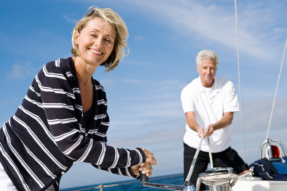 Elderly couple sailing