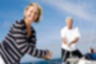 Elderly couple sailing