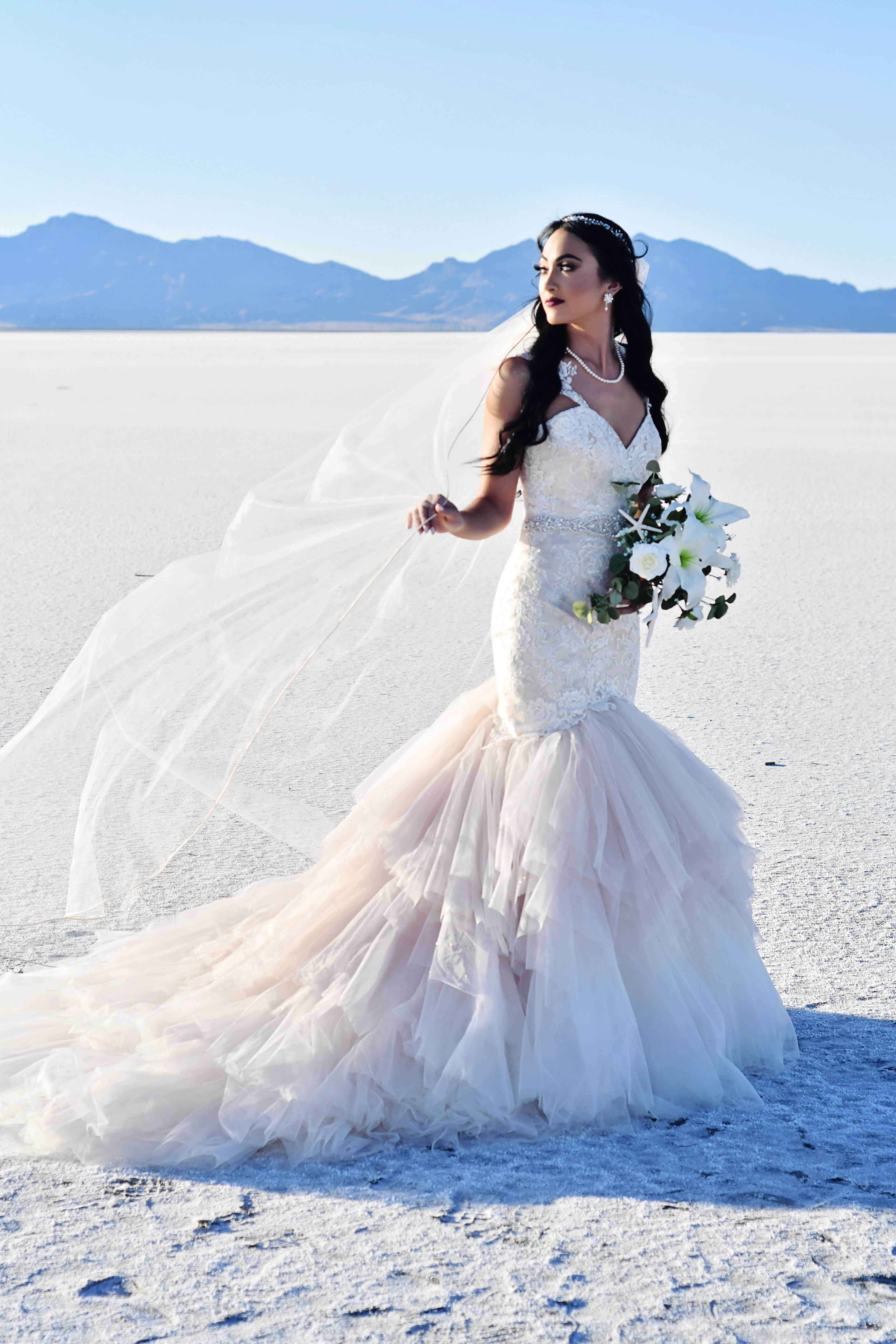 Brunette Bride on Salt Flats