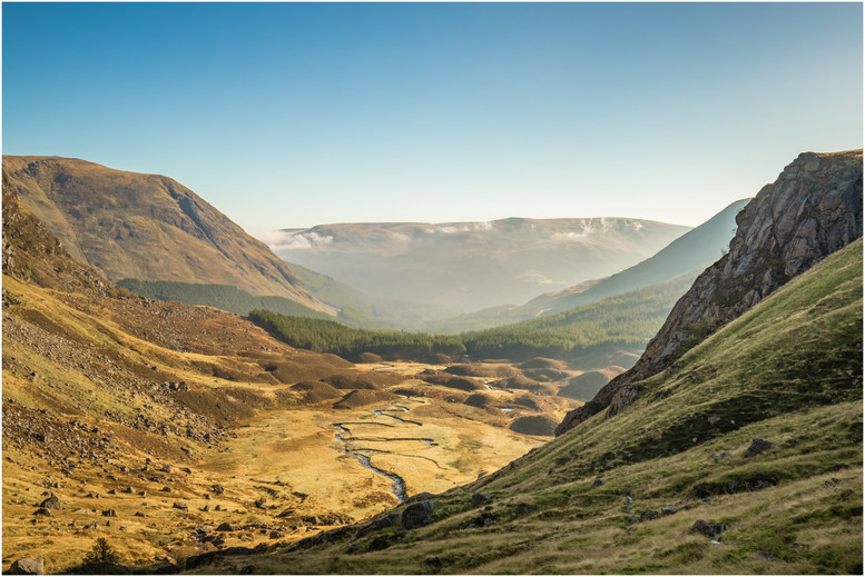 The view back down Glen Doll in the morning sun was spectacular