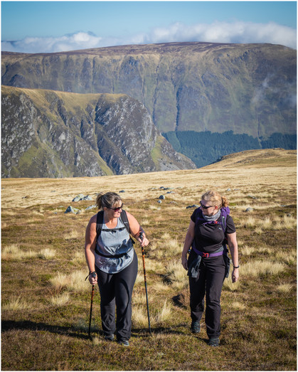 Lorna and Hazel in the sunshine and epic scenery - this bit of the walk was almost pleasant!